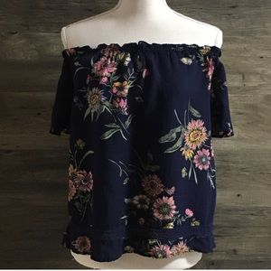 Old Navy Blue Floral Off the Shoulder Blouse